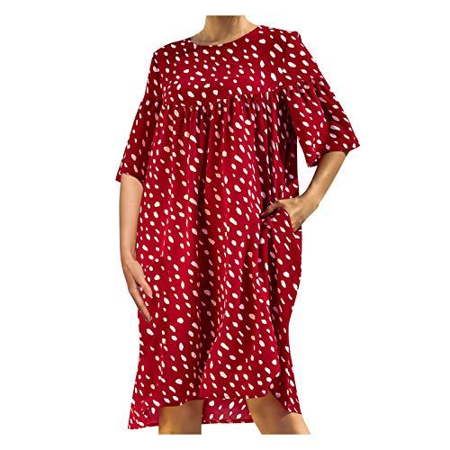 YANFANG Vestido Mujer Estampado,Vestido de Bolsillo Suelto con Cuello Redondo y Manga Corta con Lunares y Retazos para Mujer, Red,XL