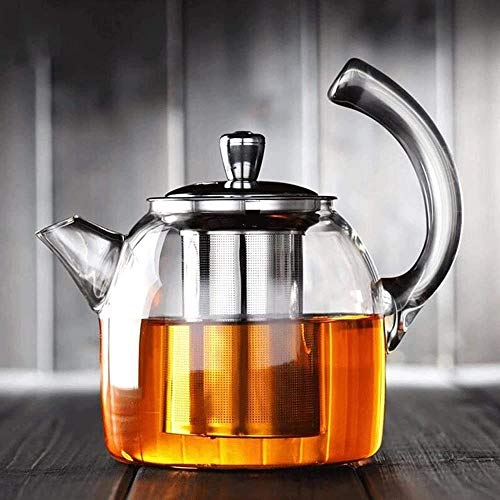 Tetera grande de acero inoxidable con filtro de espuma de vidrio engrosada de alta temperatura para preparar té casero de 950 ml