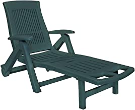 vidaXL Sun Lounger with Footrest Plastic Weather Resistant Slatted Design Adjustable Outdoor Sun Bed Deck Porch Recliner P...