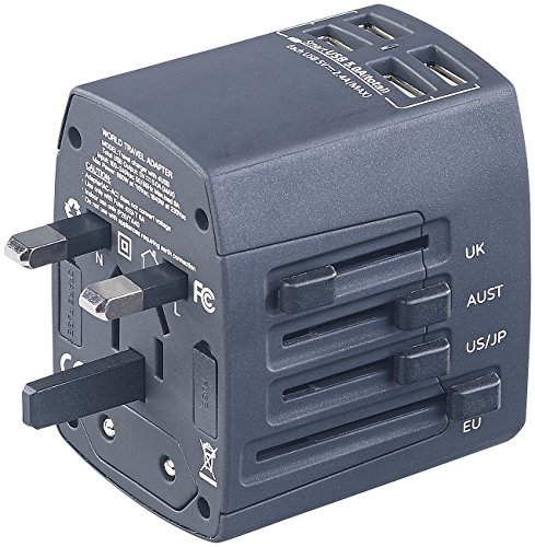 revolt Strom Adapter: 3in1-Universal-Welt-Reisestecker mit 4 USB-Ladeports, 5 A, 25 Watt (Reisenetzteil)