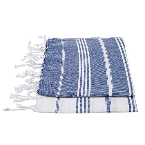 ZusenZomer Set Hamamtücher Sultan 100x50-2 x Kleine Hamam Handtücher Hamam Tuch Pestemal Hammam Towel Hamamtuch - 100% Baumwolle Handgewebt - Fair Trade Hamamtuch (Blau und Weiß)
