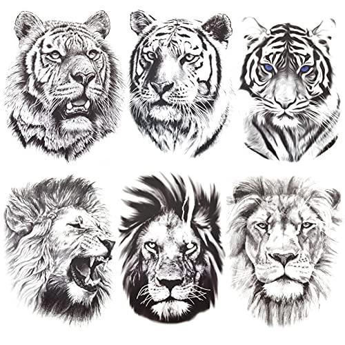 AIBAOBAO 6 Blatt Temporäre Tattoos Aufkleber 3D Löwe Tiger Tattoo Sticker für Männer Frauen, Realistisch Wasserdicht Schwarz Schmerzlos Fake Tattoo Aufkleber für Karosserie Rücken Arme Brust, 21x15cm