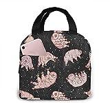 Tardigrades in Space Black de Pinky Wittingslow Bolsa de almuerzo para mujeres, niñas, niños, bolsa de picnic con aislamiento térmico, bolso grande Bento para preparar comidas, linda bolsa