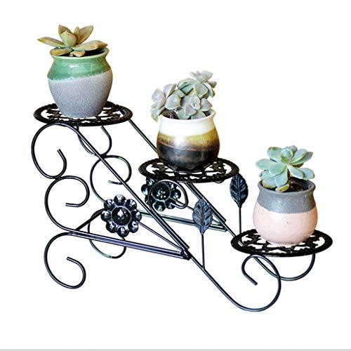Support à fleurs 3 niveaux Apparence créative Art de fer Art Cadre de fleur Moderne Simple évider Main découper Intérieur et Extérieur Balcon Jardin Salon (Color : Black)