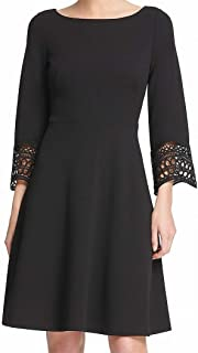 DKNY Womens Black Lace Trim Bell Sleeve Jewel Neck Above The Knee Fit + Flare Cocktail Dress US Size: 6