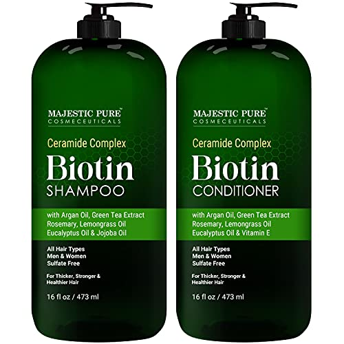 MAJESTIC PURE Biotin Shampoo and Conditioner Set with Ceramides - Fights Hair Loss & Hair Thinning - Made with Essential Oils, for Hair Growth & Thickening, Sulfate Free, Men and Women, 16 fl oz each