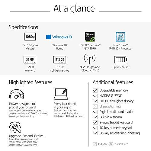 15-inch HP OMEN Six-core i7-8750H GeForce GTX 1070 VR Ready Gaming Laptop