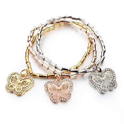 YCWDCS ArmbandKristall Schmetterling Charme Armbänder & Armreifen Für Frauen Vintage Gold Stretch-Armband Femme Schmuck Pulseras Mujer