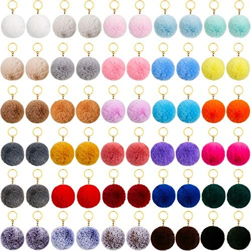60 Pieces Colorful Poms Keychains Fluffy Ball Faux Fur Keyring for Women 3 Inch product image