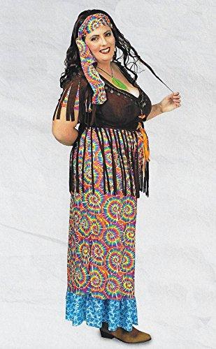 Karneval-Fasching-Shop Hippiekleid lang Damenkostüm Hippie Rainbow Kostüm bis Gr. 52-54 (52/54)