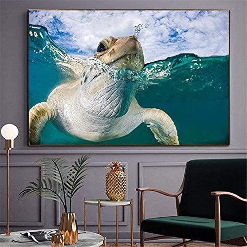 SXXRZA Cuadro del Cartel 60x80 cm Cartel de Tortuga Marina sin Marco Tortuga Marina submarina Arte de la Pared impresión de la Lona Pintura Sala de Estar decoración del hogar Pintura
