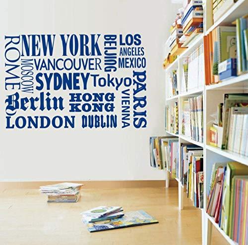 New York London Paris Zitat Wandaufkleber World City Names Vinyl Wandtattoo Kunst DIY Home Office Dekoration 42x28cm