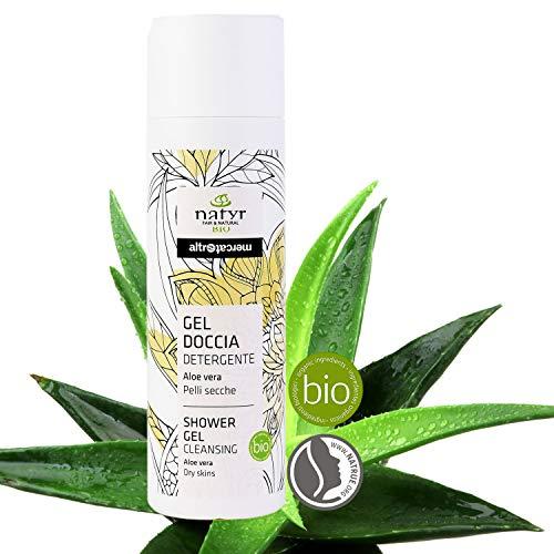 Natyr Bio Duschgel Aloe Vera 200 ml - Feuchtigkeitpflege und samtweiche Reinigung von trockener und empfindlicher Haut