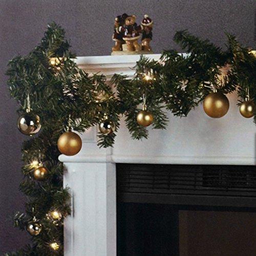 Wohaga Weihnachtsgirlande Tannengirlande Lichterkette 270cm 180 Spitzen 20 Lampen 16 Kugeln Gold