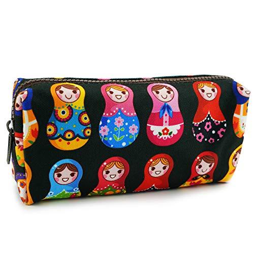 LParkin Cute Matryoshka Doll Bag Canvas Pencil Case Zipper Pouch Small Cosmetic Bag Russian Doll Purse Teacher Gift Stationary Box Gadget Bag Make Up Case Kawaii