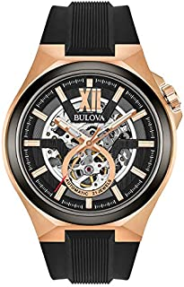 Bulova Men's Stainless Steel Automatic-self-Wind Watch with Silicone Strap, Black, 27 (Model: 98A177)