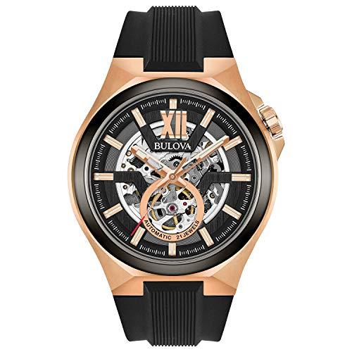 Bulova Relógio masculino de aço inoxidável com pulseira de silicone, preto, 27 (modelo: 98A177)