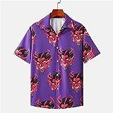 Devil Full Printed Manga corta Hombres Verano Floral Camisas hawaianas sueltas Streetwear Hip Hop Camisas de pareja,# (Color : Purple, Size : XX-Large)