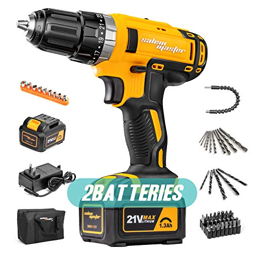 SALEM MASTER Cordless-Drill-Driver, 21V MAX 2-pack Batteries Impact Drill - 3/8'' Auto Chuck, 23+1 Clutch, 29N.M Torque, 2-Speed, 57pcs Accessories Built-in LED Drill for Drilling Wall, Wood, Metal