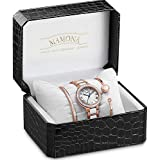 MAMONA Women's Watch Bracelet Gift Set Crystal Accented Ceramic/Stainless Steel L68008GT (Rose Gold)