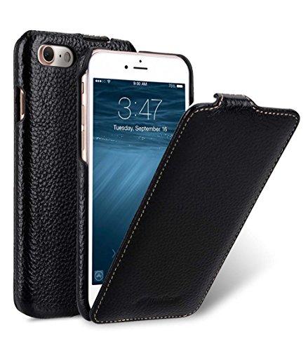 MELCKO Tasche passend für Apple iPhone SE 2020, iPhone 8 & iPhone 7 (4.7 Zoll), Hülle Außenseite aus beschichtetem Leder, Schutz-Hülle aufklappbar, Flip-Hülle, Ultra-Slim Cover, Etui, Schwarz