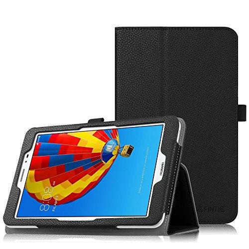 Fintie Folio Funda para Huawei MediaPad T1 8.0 - Slim Fit Carcasa con Función de Soporte y Banda Elástica para Stylus para Honor T1 8 Pulgadas, Negro