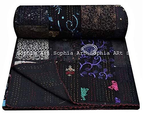 Handgemachte Druck Hand Jari Patchwork König /Twin Size Stickerei Kantha Quilt Home Dekorative Kantha Quilt Tagesdecke Indian Blanket Coverlet Art (Black, 90