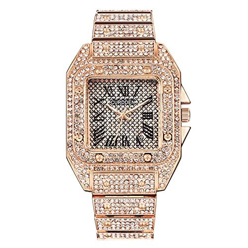 Montloxs Reloj de Cuarzo para Hombre con Diamantes de imitación Relojes de Moda para Hombre Relojes de Diamantes exquisitos Visualización de Tiempo y Calendario Muñequera Fresca para Hombre Regalos