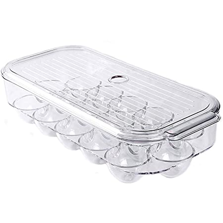 SANNO Egg Holder Stackable Plastic Covered Egg Tray Holder Plastic Refrigerator and Pantry Egg Bin, BPA Free Fridge Organizer with Lid, Holds up to 16 Eggs, Clear