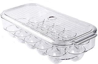 SANNO Egg Holder Stackable Plastic Covered Egg Tray Holder Plastic Refrigerator and Pantry Egg Bin, BPA Free Fridge Organi...