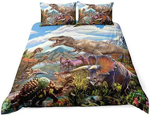 Wnyun Juego de Ropa de Cama Dinosaur World Jurassic Animals Juego de Funda nórdica con Estampado en Microfibra,Impresa en 3D,con Cierre de Cremallera-150x200cm