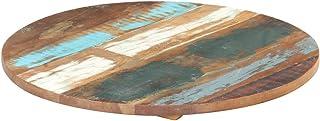 VIENDADPOW Plateaux de Table Dessus de Table Rond 70 cm 25-27 mm Bois de récupération Solide