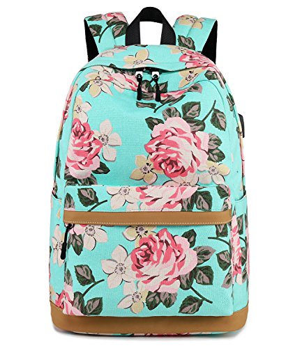 Abshoo Cute Canvas Floral Backpacks for Teen Girls School Bookbags (Floral Light Blue)