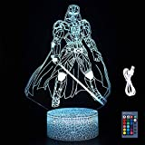 B Darth Vader Toys 3D LED Acrylic Night Light with Remote & Smart Touch 16 Colors Changing Dimmable USB Powered Bedroom Decoration Table Lamp Sleep Light for Kids Boy & Girl Gifts