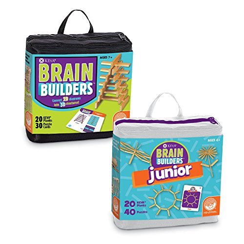 MindWare KEVA Set of 2 Brainbuilders Junior & Regular Kits - 3D Brain Building STEM Challenges for Boys & Girls - Try to Build The Image - Practice Spatial Thinking - 40 Planks & 70 Puzzles Total