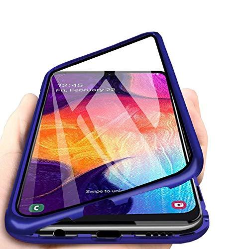 DoubTech Rundum Hülle für Samsung Galaxy A50 Magnetische Adsorption Handyhülle 360 Grad Stark Magneten Aluminium Rahmen Dual Gehärtetes Glas Schutzhülle Stoßfest Metall Flip Case