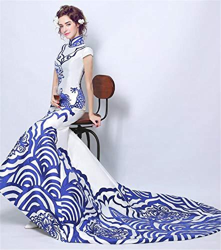 LYJFSZ-7 Hochzeitskleid,Weiße Und Blaue Seide Bodenlange Brautkleid Im Chinesischen Stil No.07460