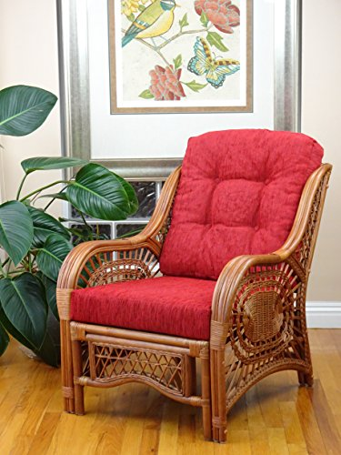 Malibu Lounge Armchair ECO Natural Rattan Wicker Handmade Design with Red Cushion, Colonial