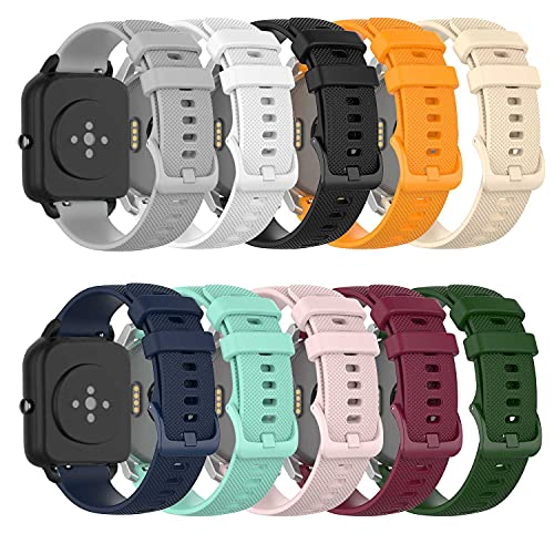 ECSEM Replacement Bands Compatible with Letsfit ID205L,ID205S/Fitpolo ID205L/Umidigi Uwatch3,Uwatch Ufit,Uwatch GT Watch Band Silicone Adjustable Sport Strap for Willful ID205L/SW023,ID205S/SW025