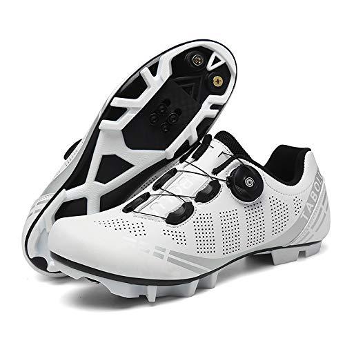 WYUKN Zapatillas De Ciclismo Racing MTB,Zapatillas De Bicicleta para Hombre Unisex con Suelas Duras,White-40EU=(250mm)