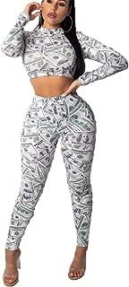 2 Piece Outfits Women's Floral Print Crop Top Bodycon Long Pants Jumpsuits Romper