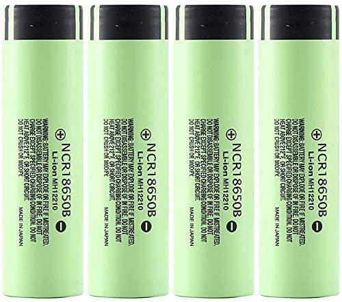 18650 Batería de Litio Recargable 3.7V 3400mAh Baterías de Botón de Gran Capacidad Para Linterna LED, iluminación de Emergencia, Dispositivos Electrónicos, etc, (Verde) (4 Piezas)