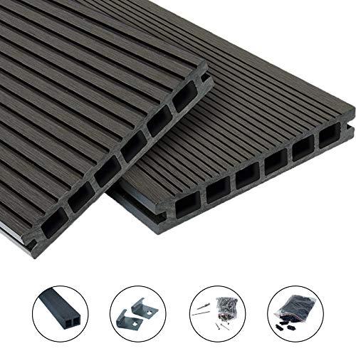 WPC Terrassendielen Top Line Dielen - Komplett-Set Dunkelgrau | 10 m² (5m x 2m) Holz-Brett Dielen | Boden-Fliesen + Unterkonstruktion & Clips | Balkon Boden-Belag + rutschfest + witterungsbeständig