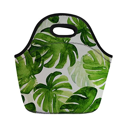 Coloranimal réutilisable en néoprène Sac à lunch Tote Tropical de noix de coco Arbre Motif sac à main, femme, tropical tree-2