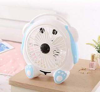 Ventilador De Dibujos Animados pequeño Dormitorio del Estudiante Cama pequeña Bed Head Silencio Lindo Dormitorio Plug-in de Escritorio del hogar (Color : White)