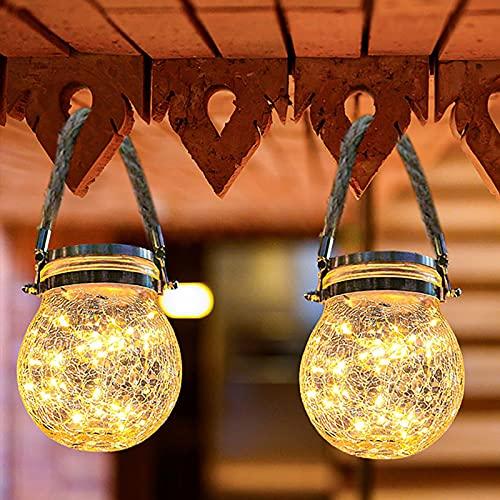 Qxmcov Solarlaterne für Außen, 2 Stück Glaslaterne Wasserdicht Gartenbeleuchtung Solar 30 LED Warmweiß Dekorative Hängende Solarlaterne für Garten Deko, Terrasse, Treppen, Wegen, Party Dekoration