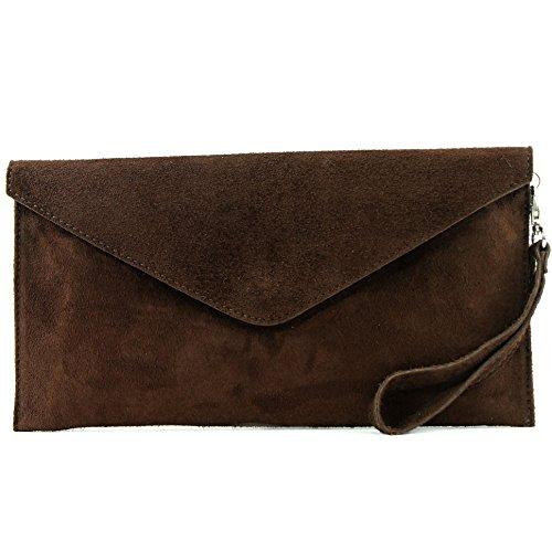 modamoda de - ital embrague/noche bolsa de gamuza T106, Color:chocolate