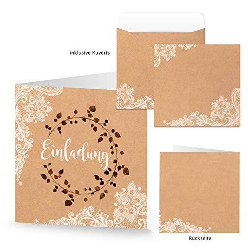 Logbuch-Verlag 10 Einladungskarten + Kuverts quadratisch Kraftpapier braun Spitze Boho Vintage Stil Einladung Karte Hochzeit Hochzeitseinladung