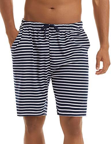 Irevial Herren Schlafanzughose Streifen Kurz Baumwolle Pyjamahose Shorty Nachtwäsche Loungewear Schlafanzug Freizeithose für Schlafzimmer, Urlaub, Sport, Ausgehen