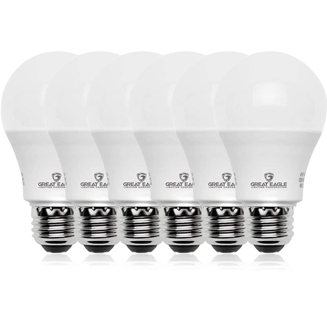Great Eagle 100W Equivalent LED Light Bulb 1550 Lumens A19 Bright White 3000K Dimmable 14-Watt UL Listed (6-Pack)